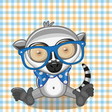 Hipster Lemur. On a plaid background stock illustration