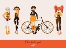 Hipster leuke meisjes die op achtergrond worden geïsoleerd De vectormanierillustratie plaatste met diverse toebehoren, kapsel, me Royalty-vrije Stock Afbeelding