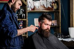 Hipster lifestyle concept. Barber with hair clipper works on hairstyle for bearded man barbershop background. Barber. Hipster lifestyle concept. Barber with hair royalty free stock image