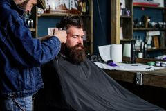 Hipster lifestyle concept. Hipster client getting haircut. Barber with hair clipper work on hairstyle for hipster Stock Image