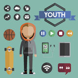 Hipster lifestyle daily life icon vector illustration Concept Stock Image