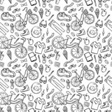 Hipster lifestyle pattern background. Hipster lifestyle seamless pattern background. Hand drawn vector illustration with bicycle, ice cream, t-shirt, apple Stock Photo