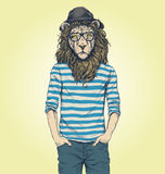 Hipster Lion Vector Illustration Stock Photo