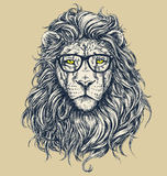 Hipster lion vector illustration. Glasses separated. stock illustration