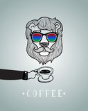 Hipster lion wearing spectacles Royalty Free Stock Photo