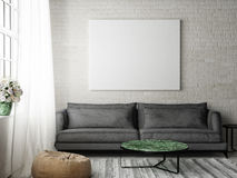 Hipster living room with mock up poster, Royalty Free Stock Photography