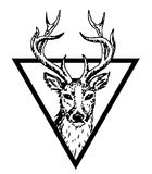 Hipster logo with deer Stock Photo