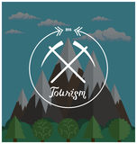 Hipster logo. Summer camp concept with mountain nature landscape Royalty Free Stock Photo
