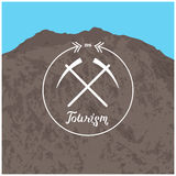 Hipster logo. Summer camp concept with mountain nature landscape Royalty Free Stock Image