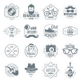 Hipster logo vintage icons set, simple style Royalty Free Stock Photo