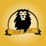Hipster logotype with head of lion. On yellow background stock illustration