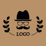 Hipster logotype, man in glasses with mustache and in hat, on the sides are twigs with leaves. Vintage label vector illustration
