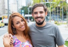 Hipster love couple outdoor in the city Stock Photos