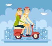 Hipster Male Female Couple Characters Riding Royalty Free Stock Image