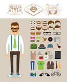 Hipster man. Accessories, hairstyles and labels Stock Photos