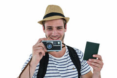 Hipster man as a tourist Stock Photography