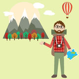 Hipster man with backpack outdoor traveling Stock Photos