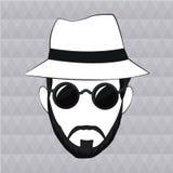 Hipster man beard hair hat sunglasses. Vector illustration eps 10 Stock Image