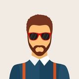 Hipster man character with beard, hairstyle and glasses in flat. Hipster man character with beard, hairstyle and glasses in flat style. Stylish young guy on Royalty Free Stock Photography