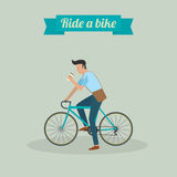 Hipster man character riding a bike. And drinking water Royalty Free Stock Photos