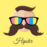 Hipster man with Colourful Sun Glasses and Mustache / Moustache. Stock Photography