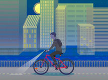 Hipster man cycling his fixie bike.Night city. Design Character. Vector illustration Stock Photography
