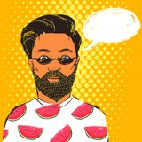 Hipster man in dark sunglasses with beard and mustache. Hand drawn vector summer illustration with bubble for text. Royalty Free Stock Images