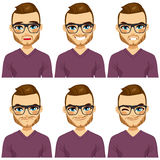 Hipster Man Different Expressions Royalty Free Stock Photography