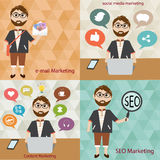 Hipster man  in  digital marketing concept Stock Images