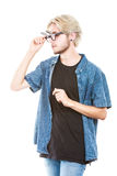 Hipster man with eccentric glasses studio shot Royalty Free Stock Image