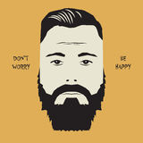 Hipster man face sign with text Don`t Worry, Be Happy Stock Photo