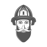 Hipster man in fireman hat vector illustration in monocrome vintage style. Royalty Free Stock Photography