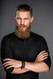 Hipster man with folded hands Stock Photos