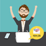 Hipster man  get the new job Royalty Free Stock Photos