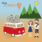 Hipster man and girl travel in summer Stock Photos