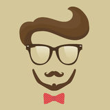 Hipster  man. Glasses, mustache, beard and bow tie Royalty Free Stock Image