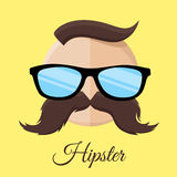 Hipster man with Glasses and Mustache / Moustache. Royalty Free Stock Photography