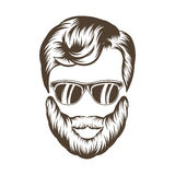 Hipster man hair and beard. Hand drawn vector illustration Royalty Free Stock Image