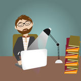 Hipster man have a lot of work and feeling sleepy Royalty Free Stock Photo