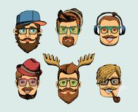 Hipster man heads avatars Stock Images