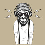 Hipster man listening to music vector illustration Stock Photo