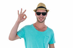 Hipster man making ok sign. On white background royalty free stock image