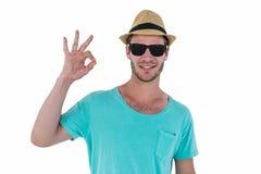 Hipster man making ok sign Royalty Free Stock Image