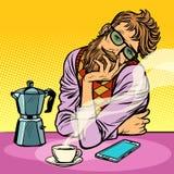 Hipster man morning coffee Stock Illustration
