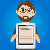 Hipster man with new year resolution. On tablet royalty free illustration