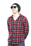Hipster man in plaid shirt Stock Image