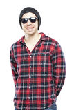 Hipster man in plaid shirt Royalty Free Stock Photography