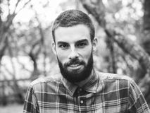 Hipster man portrait  in black and white Stock Images