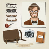 Hipster man portrait with his accessories. Vector hipster man portrait with his accessories Stock Photo
