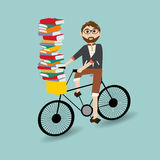 Hipster man riding the bicycle Stock Photos